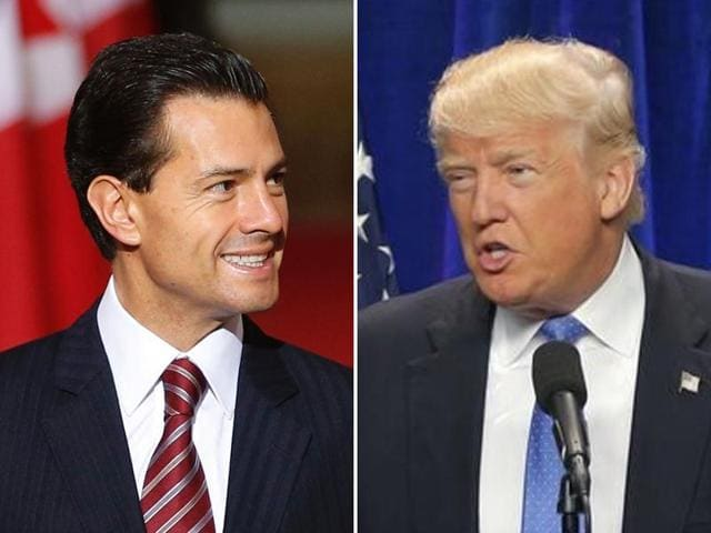US Republican presidential nominee Donald Trump and Mexico's President Enrique Pena Nieto arrive for a press conference at the Los Pinos residence in Mexico City on August 31, 2016.
