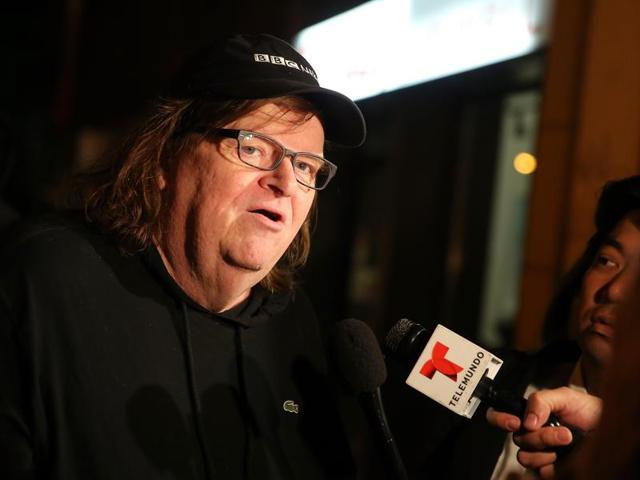 Director Michael Moore speaks to the media at the premiere of his documentary Michael Moore In TrumpLand.