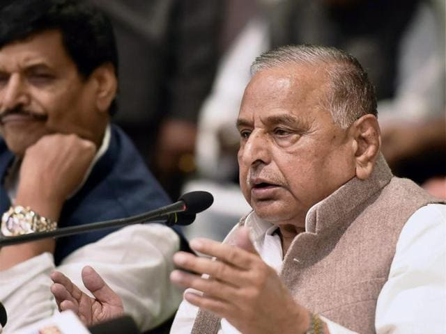 Samajwadi party supremo Mulayam Singh Yadav addresses a press conference at the party office in Lucknow on Thursday.