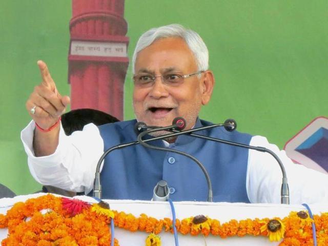Bihar chief minister Nitish Kumar addressing a rally during his 'Nischay Yatra' in Bettiah on November 10, 2016.
