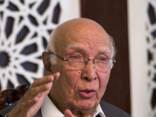 Pakistani prime minister's adviser on foreign affairs Sartaj Aziz addresses a news conference in Islamabad, Pakistan.