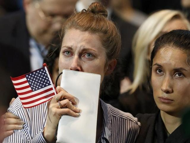 Supporters of US Democratic presidential nominee Hillary Clinton react at her election night rally in Manhattan, New York. Interest in moving to Canada spiked as soon as it became clear that Trump was on a sure path to the White House.