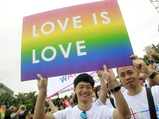 Revelers participate in a gay pride parade in Taipei, Taiwan.