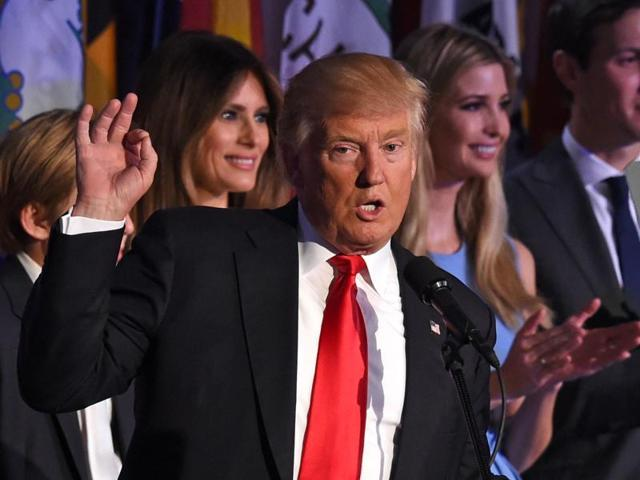 US President elect Donald Trump speaks at election night rally in Manhattan, New York