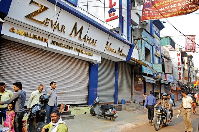 The heavily crowded Sadar Bazaar market wore a deserted look on Friday as most jewellers and other shopkeepers called it a day.