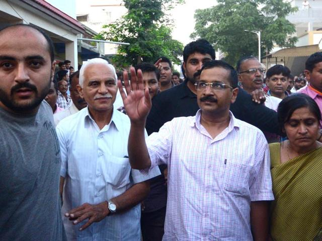 AAP chief and Delhi chief minister Arvind Kejriwal in Ahmedabad, Gujarat.