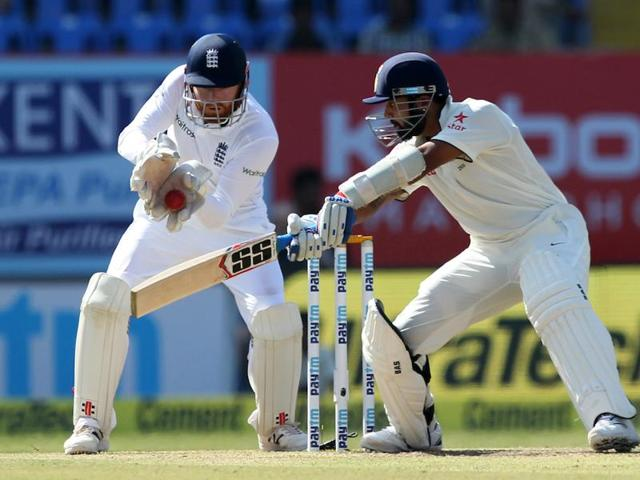 Murali Vijay and Cheteshwar Pujara put India on top with  magnificent fifties as India reached a strong position against England in Rajkot.