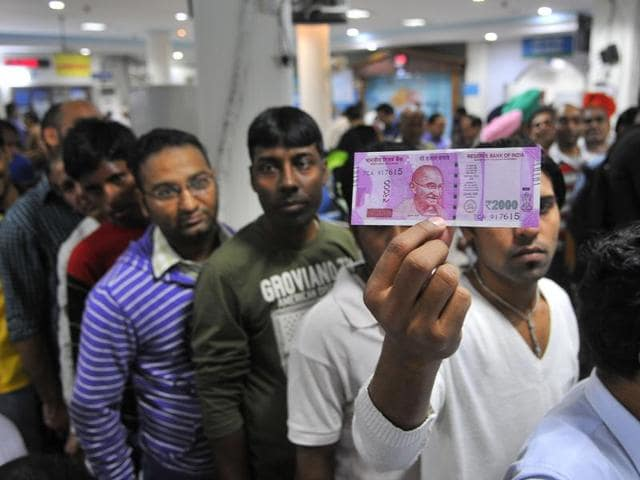 Heavy rush inside a bank in the wake of the demonetisation of Rs 500 and Rs 1000 currency notes by the government.