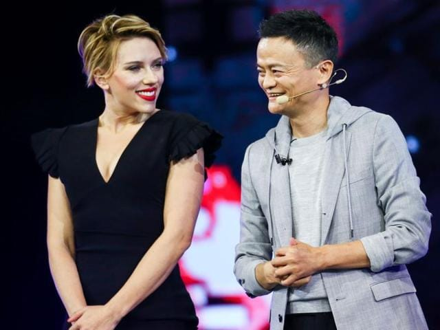 US actress Scarlett Johansson (left) and Jack Ma, Chairman of Alibaba Group, attending a shopping festival gala in Shenzhen, south China's Guangdong province.