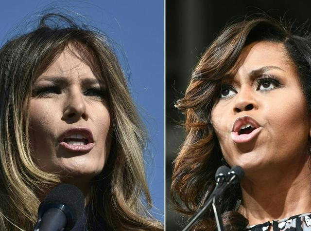 Melania Trump , wife of President-elect Donald Trump (R) and US First Lady Michelle Obama.