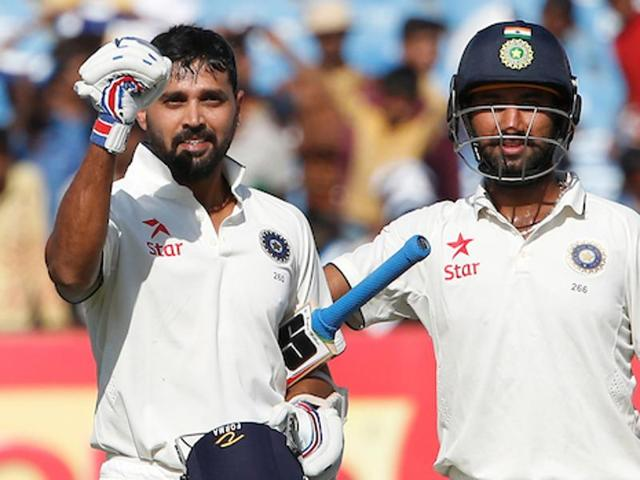 Cheteshwar Pujara shared a 209-run stand for the second wicket with Murali Vijay as India finished day three on 319/4.
