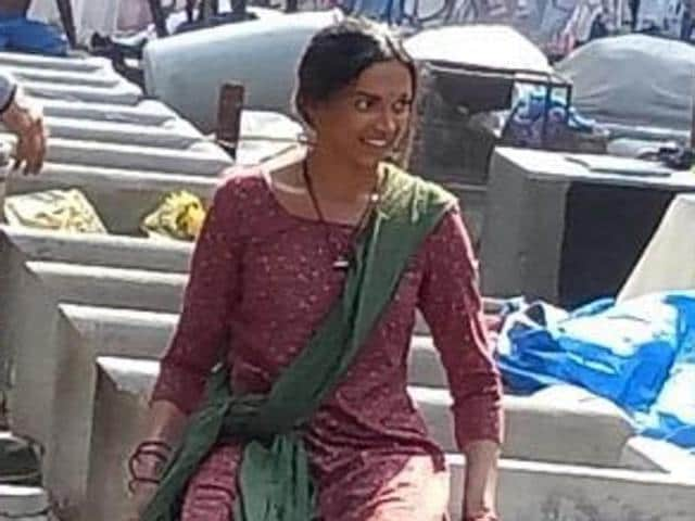 Deepika Padukone and Majid Majidi shoot at Dhobi Ghat in Mumbai.