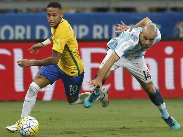 At the end of a 0-3 loss to Brazil in a World Cup qualifier, Argentina's Lionel Messi needed consolation from the night's hero and Barcelona teammate Neymar.