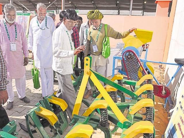 Farmers visit  an exhibition at GRAM in Jaipur.