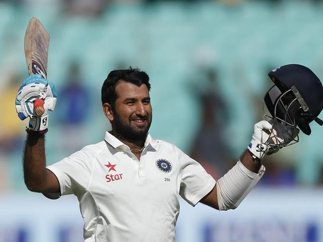 Cheteshwar Pujara notched up his ninth Test century and his third against England.