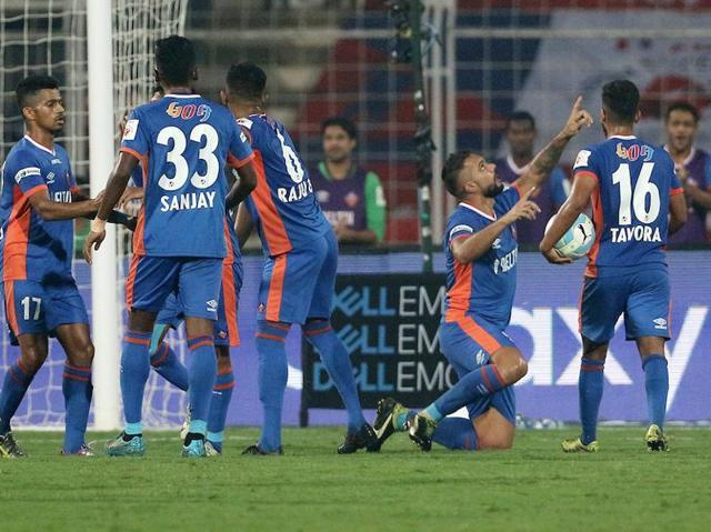 Romeo Fernandes celebrates after scoring the winning goal against NorthEast United FC  at the Fatorda Stadium in Goa.