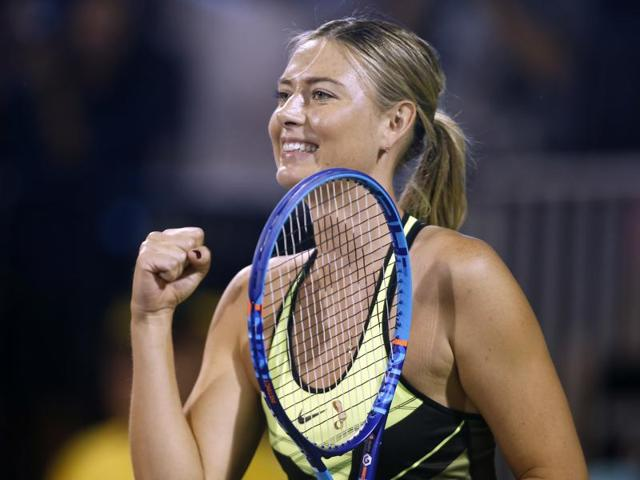 Maria Sharapova reacts after a point during a World Team Tennis exhibition match.