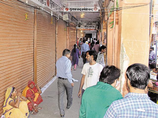 Shops in the Walled City remained closed on Friday as the traders went on a protest against the surprise visits by income tax officers.