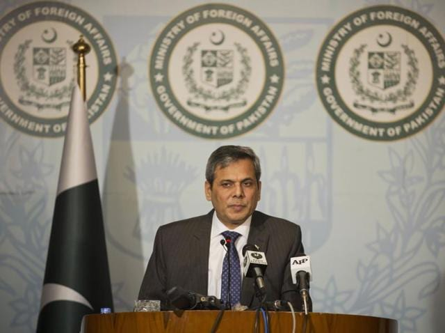Pakistan's foreign ministry spokesperson Nafees Zakaria briefs media at the Foreign Office in Islamabad.