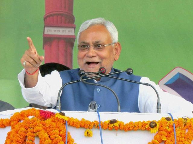Bihar CM Nitish Kumar addresses Chetna Sabha during his Nishchay Yatra in Motihari.
