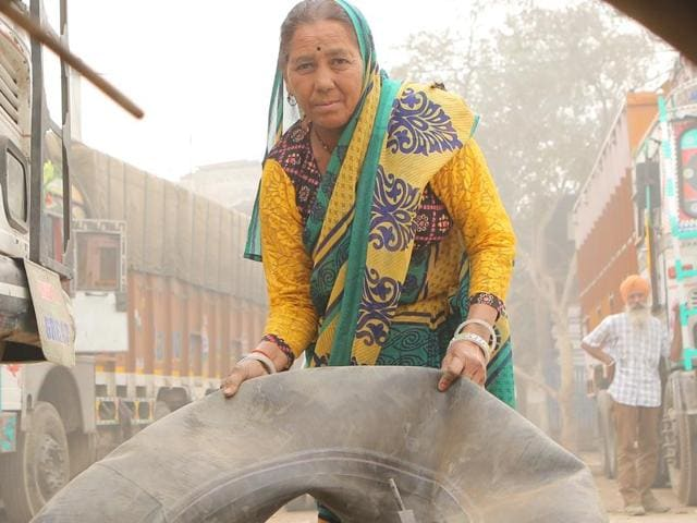 Shanti Devi, a truck mechanic in Sanjay Gandhi Transport Nagar.
