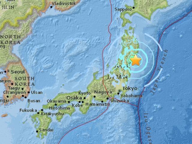 The 6.2 magnitude quake struck off east-northeast Japan coast.