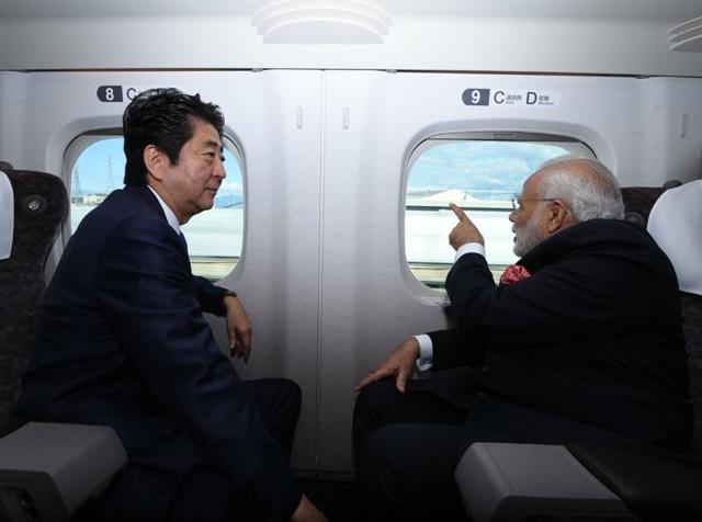 PM Narendra Modi and his Japanese counterpart Shinzo Abe on board a high-speed bullet train.