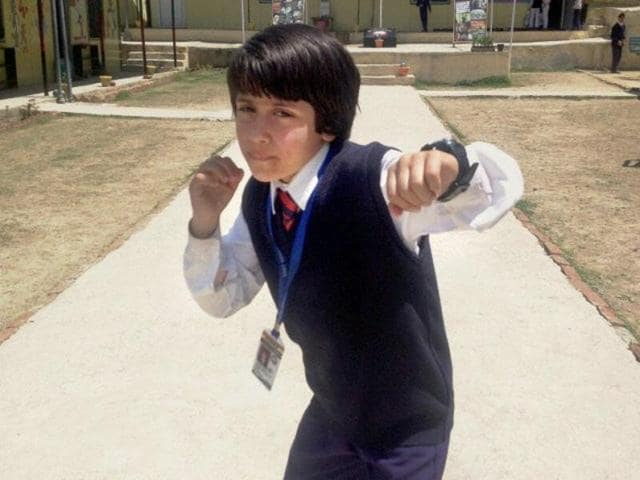 Kashmiri girl Tajamul Islam, 8, from Bandipora district who won the gold at the World Kickboxing Championship in Italy.