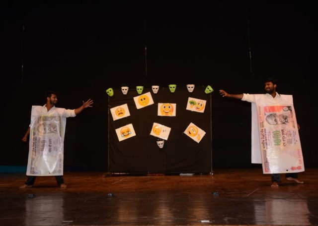 Participants perform a skit on the third and final day of inter-university State Youth Festival-2016 organised at Devi Ahilya Vishwavidyalaya in Indore on Friday.