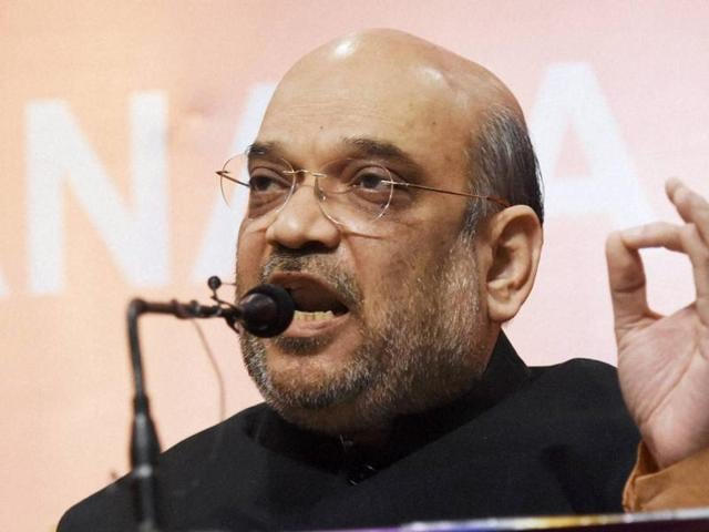 BJP President Amit Shah addressing a press conference in New Delhi.