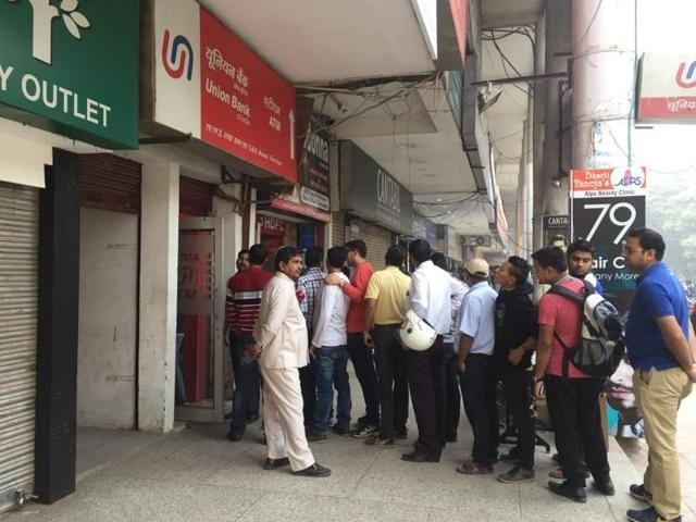 A queue outside Union Bank's ATM in Sector 14.