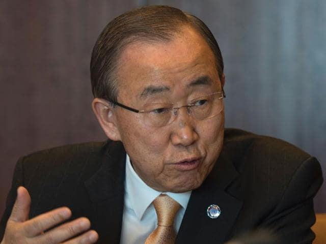 The United Nations secretary general Ban Ki-moon answers questions during an interview at the United Nations in New York.