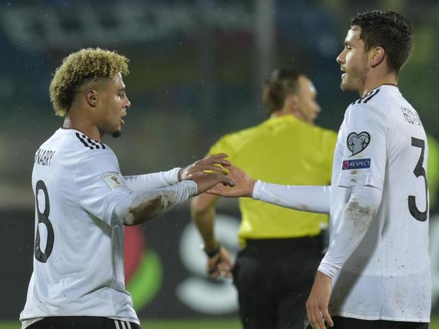 Serge Gnabry became the fist German player to score a hat-trick on debut since Dieter Mueller in 1976 as Germany thrashed San Marino 8-0.