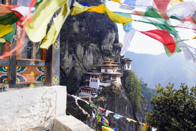 The Tiger's Nest is a prominent Himalayan Buddhist sacred site located in the cliffside of the upper Paro valley in Bhutan