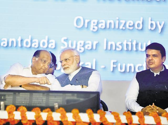 NCP chief Sharad Pawar with Prime Minister Narendra Modi and Maharashtra chief minister Devendra Fadnavis.