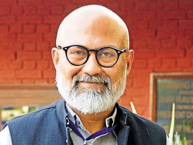 Author Akshaya Mukul during Chandigarh Literature Festival 2016 at Chandigarh club in Chandigarh on Saturday.