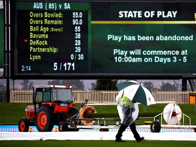South Africa's hopes of building on their 86-run overnight lead in the second Test against Australia was thwarted as the second day's play in Hobart was abandoned in Hobart due to incessant rain.