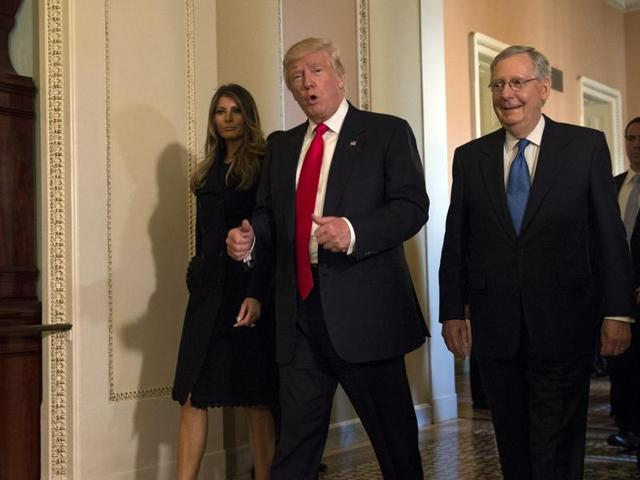 President-elect Donald Trump, accompanied by his wife Melania, and Senate Majority Leader Mitch McConnell of Ky., gestures while walking on Capitol Hill in Washington.