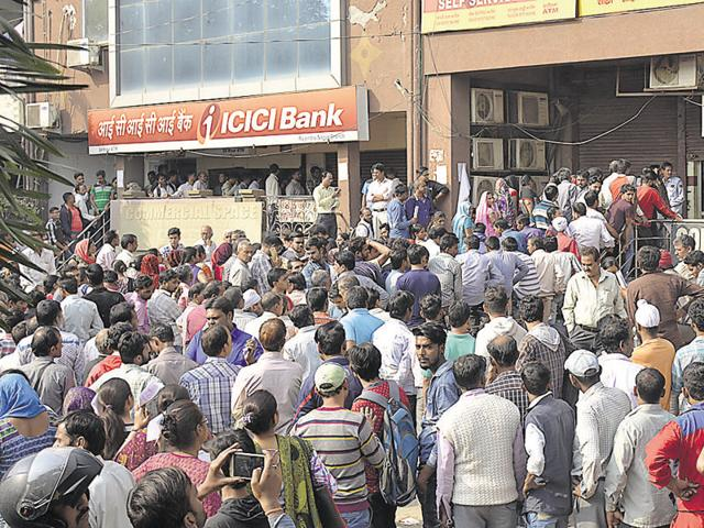 Long queues were witnessed outside ATMs in Ghaziabad