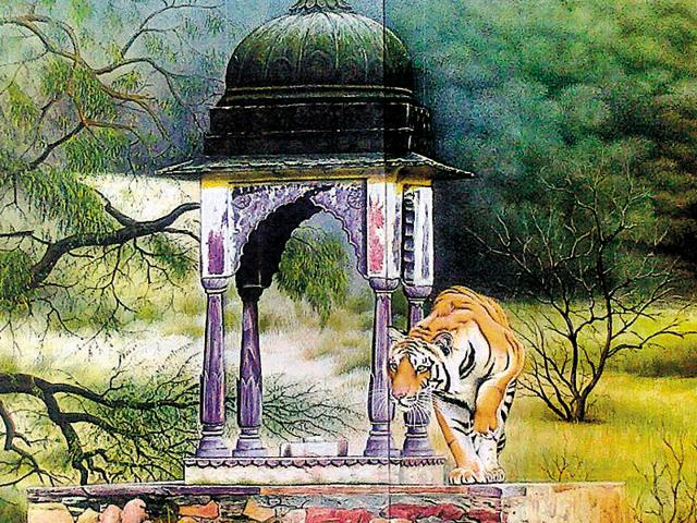A painting of a tiger at Ranthambore graced with exquisite detailing by Jaipur-based artist, Pappu Chand.
