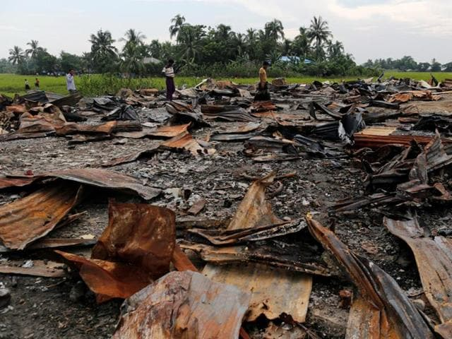 The ruins of a market set on fire at a Rohingya village outside Maugndaw in Rakhine state, Myanmar.
