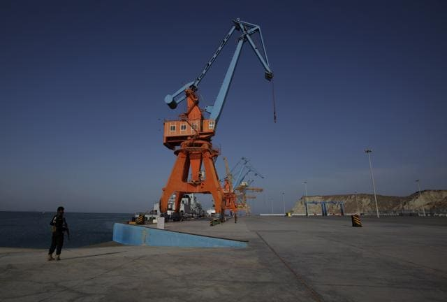 A Pakistan Navy ship berth at Gwadar port in Pakistan.