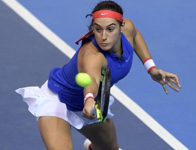 France's Caroline Garcia celebrates after defeating Czech Republic's Petra Kvitova, during the Fed Cup final match in Strasbourg on Saturday.