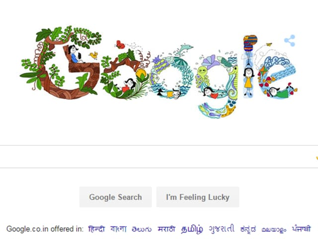 Google India has a special doodle on its homepage on Children's Day today, sketched by an 11 year old Pune girl.
