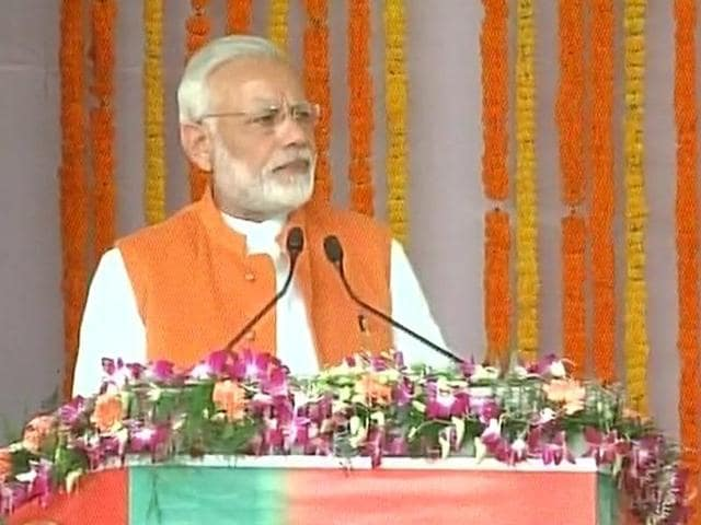 PM Narendra Modi speaks during the launch of railway projects in Ghazipur.