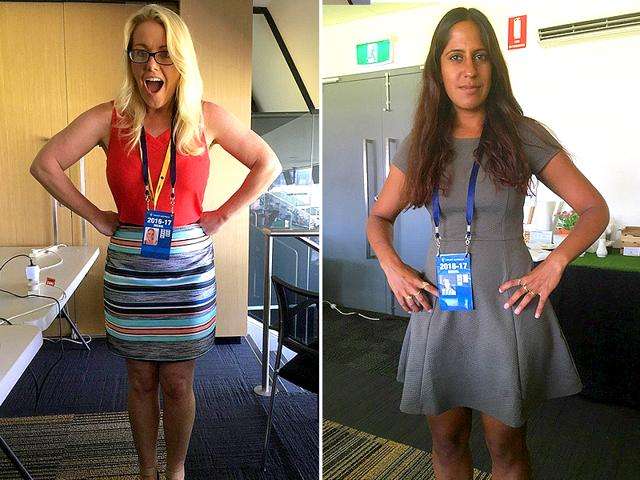 Cricinfo's women cricket writers Melinda Farrell (left) and Firdose Moonda were stumped when they were stopped from entering the WACA members' area for not following the dress code.