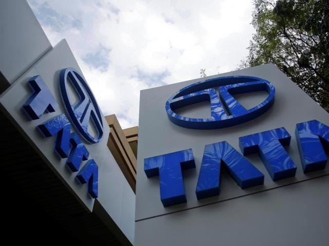 Tata Motors logos are seen at their flagship showroom Mumbai.