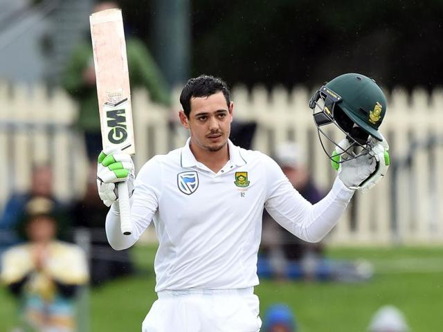 South Africa's Quinton de Kock celebrates after reaching his century.