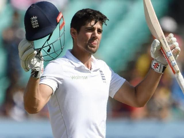 England's captain Alastair Cook celebrates after scoring his fifty on the fifth day of the first Test at Rajkot.