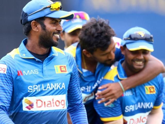Sri Lankan seamers, led by Nuwan Kulasekara (right), had a field day as cloudy conditions helped them swing and trouble Zimbabwe batsmen right from the first ball.